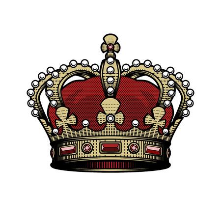 Illustration for King crown. Vintage, heraldic imperial sign Color option - Royalty Free Image