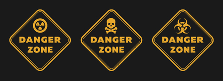 Illustration pour Danger zone signs, radiation, toxicity and mortal danger on a dark background. - image libre de droit