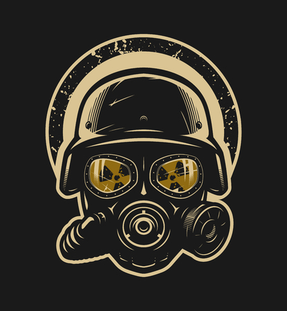 Illustrazione per Helmet and gas mask, radiation protection - Immagini Royalty Free