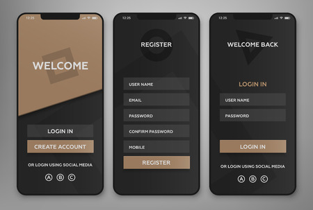 Illustration pour UI, UX Mobile application interface design. Authorization and registration pages. - image libre de droit