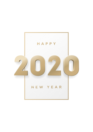 Illustration pour Happy new year, banner with gold 3d numbers 2020. - image libre de droit