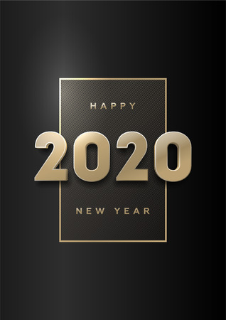 Illustration pour Happy new year, banner with gold 3d numbers 2020 on a dark background. - image libre de droit
