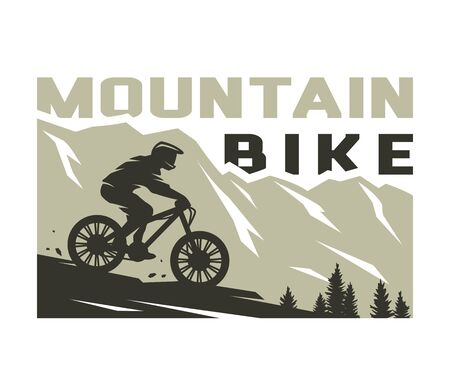 Illustrazione per Mountain bike. Silhouette of a cyclist on a background of mountains. Vector illustration. - Immagini Royalty Free