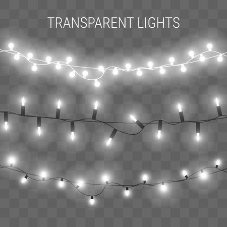 Ilustración de illustration of garland with bright lights. Transparent glowing light bulbs - Imagen libre de derechos