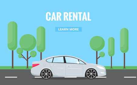 Illustration pour Car rent. Modern automobile in trendy style with typography for advertisement, web projects etc. Banner of car rental concept. - image libre de droit