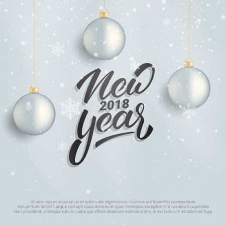 Illustration pour New Year. Winter holiday card with New Year text lettering. Background with realistic Christmas ball decorations and snow - image libre de droit
