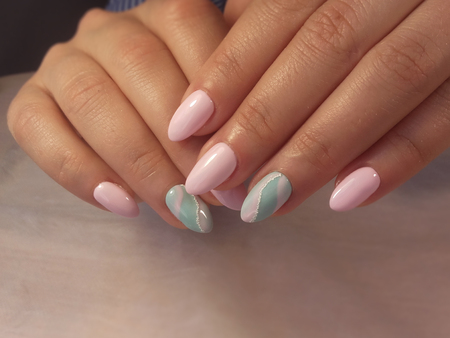Photo for Woman hands with manicure on table. Closeup photo - Royalty Free Image