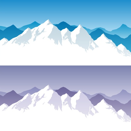 Background with snowy mountain range in 2 color versions