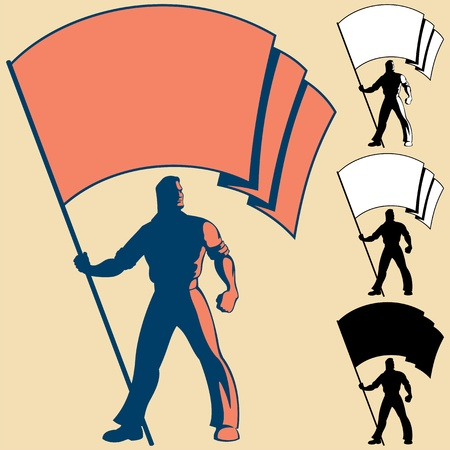 Man, holding a flag. You can place the colors of your own flag, or put your logo, text or symbol in the blank space. 3 types of silhouettes are also included.