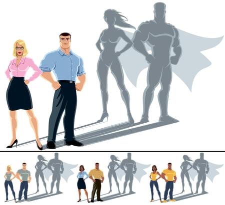 Illustration pour Conceptual illustration of ordinary couple with hero shadow   - image libre de droit