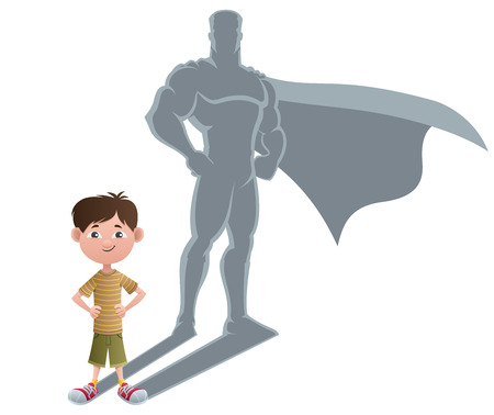 Foto de Conceptual illustration of little boy with superhero shadow.  - Imagen libre de derechos
