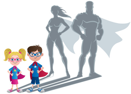 Illustration for Conceptual illustration of little children with superhero shadows.  - Royalty Free Image