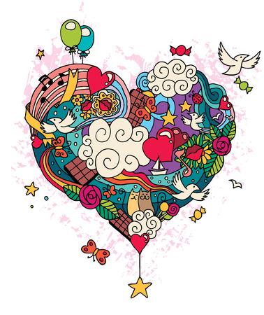 Illustration pour Hand drawn love doodle. No transparency and gradients used.  - image libre de droit