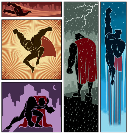 Illustration pour Set of 5 hero banners - image libre de droit