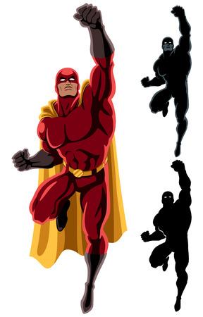 Illustration pour Flying superhero over white background. 2 additional silhouette versions.  - image libre de droit