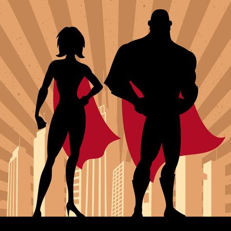 Ilustración de Square banner of male and female superheroes. No transparency and gradients used. - Imagen libre de derechos