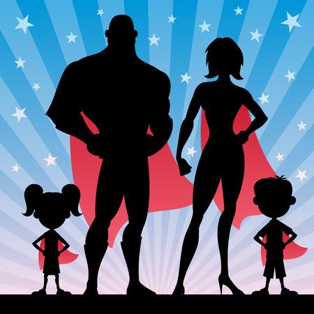 Ilustración de Square banner of superhero family. No transparency used. Basic (linear) gradients. - Imagen libre de derechos