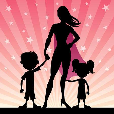 Illustration pour Super mom with her kids. No transparency used. Basic (linear) gradients. - image libre de droit