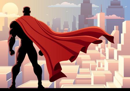 Ilustración de Superhero watching over city. - Imagen libre de derechos