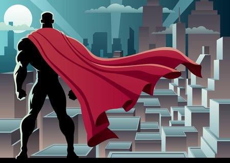 Ilustración de Super hero watching over city - Imagen libre de derechos