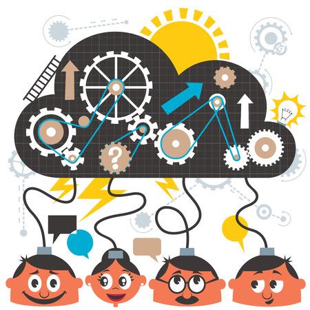 Ilustración de Group of people brainstorming. No transparency and gradients used. - Imagen libre de derechos