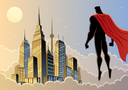 Illustration pour Superhero watching over city. No transparency used. Basic (linear) gradients. A4 proportions. - image libre de droit