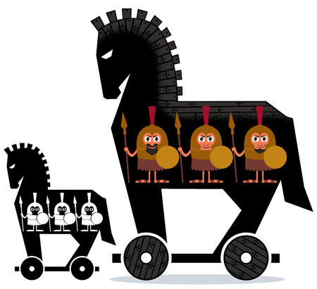 Illustration pour Cartoon Trojan horse with Greek soldiers in it in 2 versions. - image libre de droit
