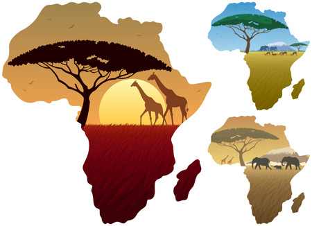 Illustration pour Three African landscapes in map of Africa. - image libre de droit