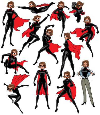 Illustration pour Super heroine over white background in 13 different poses. - image libre de droit