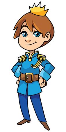 Illustration for Illustration of happy little prince smiling on white background. - Royalty Free Image