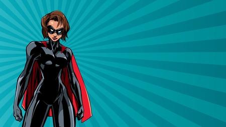Ilustración de Illustration of powerful superheroine on abstract background. - Imagen libre de derechos