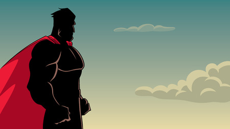 Ilustración de Side view silhouette illustration of a powerful and determined superhero with red cape looking forward ready for action on sky background for copy space. - Imagen libre de derechos