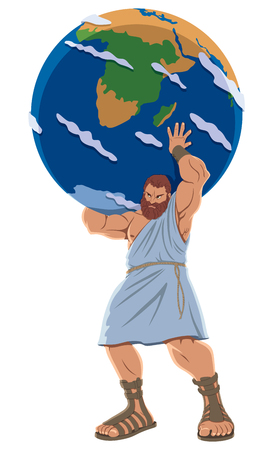 Illustration for The Titan Atlas holding the Earth globe. - Royalty Free Image