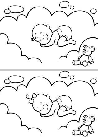 Illustration pour Cartoon baby sleeping on cloud. The illustration is in 2 versions for baby boy and baby girl. You can extend the color of the sky or the white color of the cloud to make place for your text. - image libre de droit