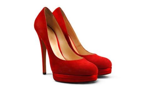 A pair of red female shoes on a white background