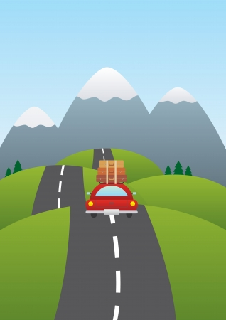 Photo pour illustration of a car on a road with mountains in background  - image libre de droit