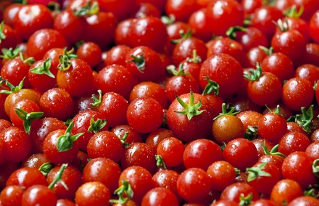A lot of organic red cherry tomatoes