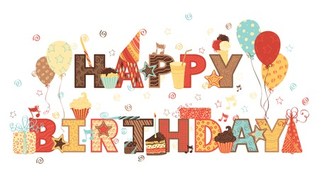Ilustración de Happy Birthday! Ornate text and birthday elements for your design. - Imagen libre de derechos