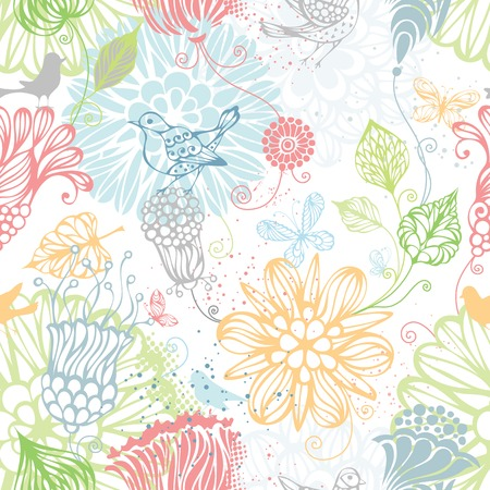 Illustration pour Seamless nature pattern. Ornate bright background with flowers, butterflies and birds. - image libre de droit