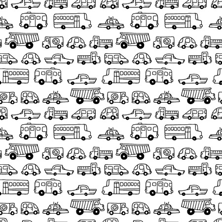 Illustration pour Seamless doodles cars background. Vector black and white background in cartoon style. Can be used for children wallpapers web site background or wrapping paper. - image libre de droit