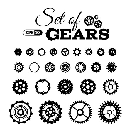 Illustration pour Vector set of gears. Various design elements isolated on white background. - image libre de droit