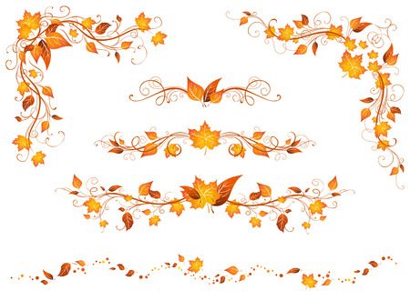 Illustration pour Vintage autumn page decorations and dividers. Ornate design elements with bright autumn leaves isolated on a white background. - image libre de droit