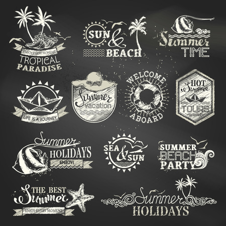 Illustration for Chalk summer and vacation labels and emblems. Vector travel emblems, symbols, badges and logo templates on blackboard background. - Royalty Free Image
