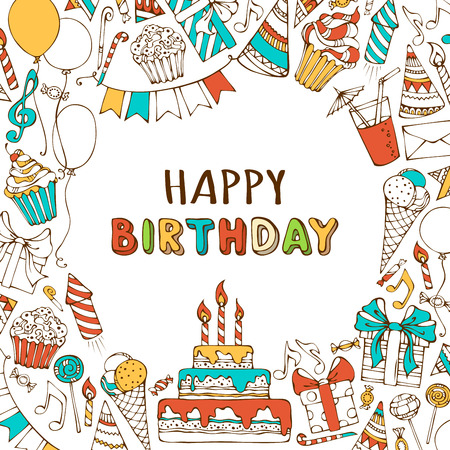 Illustration pour Vector Happy Birthday background. Hand-drawn Birthday sweets, party blowouts, party hats, gift boxes and bows, garlands and balloons, music notes and firework, candles on birthday pie. - image libre de droit
