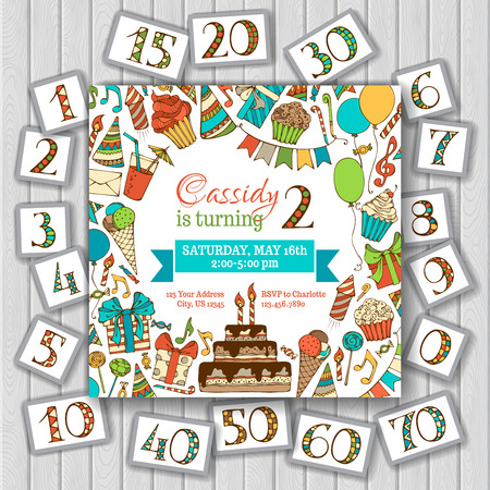 Ilustración de Happy birthday card invitation on wood background. Birthday numbers and text are editable. Vector illustration. - Imagen libre de derechos