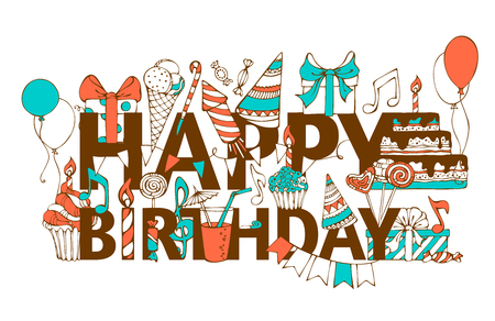Illustration pour Hand-drawn Happy Birthday card. Doodles gift boxes, garlands and balloons, music notes, party blowouts, cakes and candies, birthday pie, party hats on congratulation HAPPY BIRTHDAY. - image libre de droit