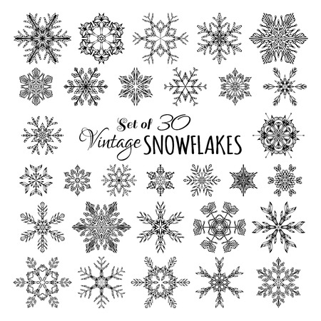 Illustration pour Vector Set of 30 Vintage Snowflakes. Hand-drawn snowflakes isolated on white background. - image libre de droit