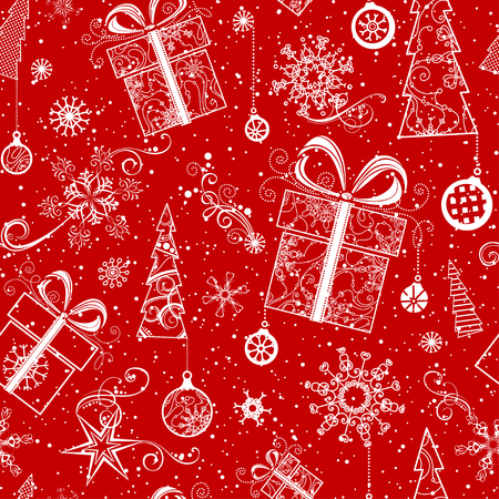 Ilustración de Seamless Christmas pattern. Vintage ornate Christmas tree, Christmas decorations, Christmas balls, swirls, stars and snowflakes. Red and white boundless background. - Imagen libre de derechos