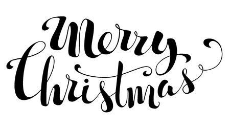 Illustration pour Merry Christmas Lettering. Hand-written text isolated on white background. - image libre de droit
