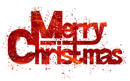Illustration pour Text Merry Christmas made from red grunge background and snowflakes. Isolated on white background. - image libre de droit